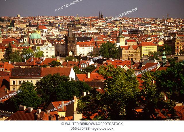 View of Charles Bridge from Prague Castle. Czech Republic