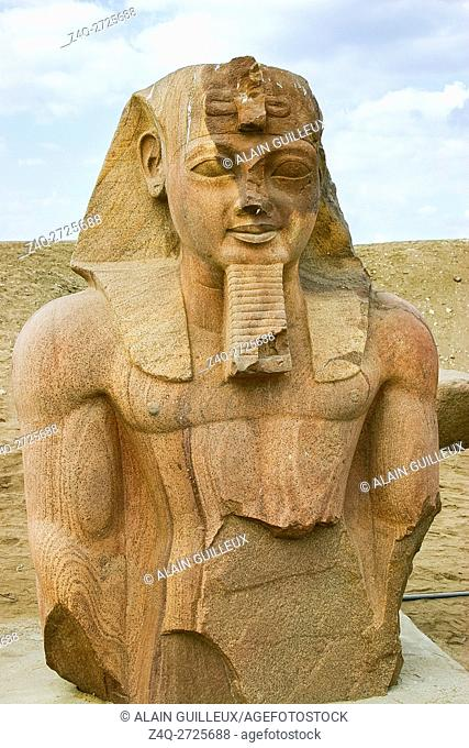 Egypt, Nile Delta, Tanis, relief on the modern processional way to the temple : Colossus of Ramses II
