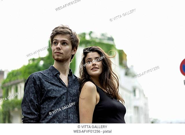 France, Paris, young couple in the district Montmartre