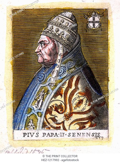 Pope Pius II, (c19th century). Born Enea Silvio Piccolomini (1405-1464), Pius was pope from 1458 until his death