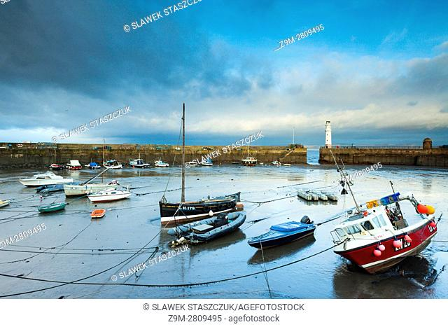 Stormy skies over Newhaven Harbour in Edinburgh, Scotland