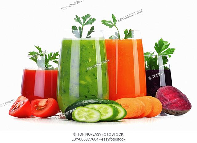 Glasses with fresh vegetable juices isolated on white. Detox diet