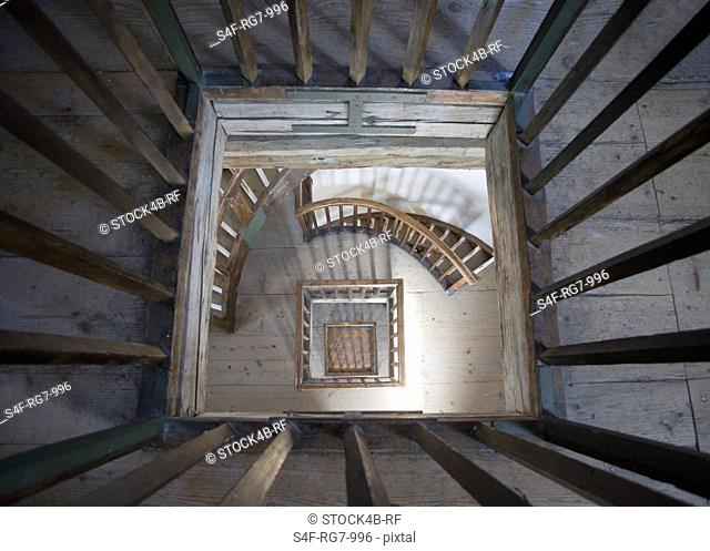 Abandoned staircase, high angle view