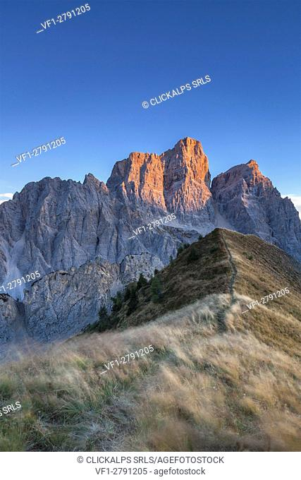 Europe, Italy, Veneto, Cadore. Autumnal sunset towards Mount Pelmo from the top of the Col de la Puina, Dolomites