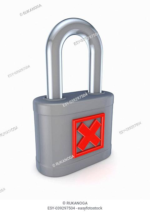 Red cross mark on a grey lock.Isolated on white background.3d rendered