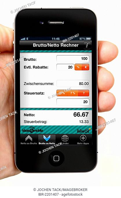 Iphone, smartphone, app on the screen, gross for net calculator