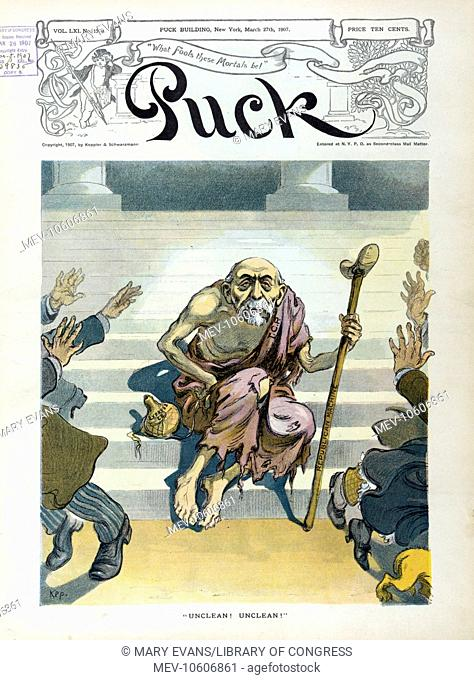 Unclean! Unclean!. Illustration shows an old man labeled TCP. (Thomas Collier Platt) wearing ragged clothing and holding a crutch labeled Republican Machine