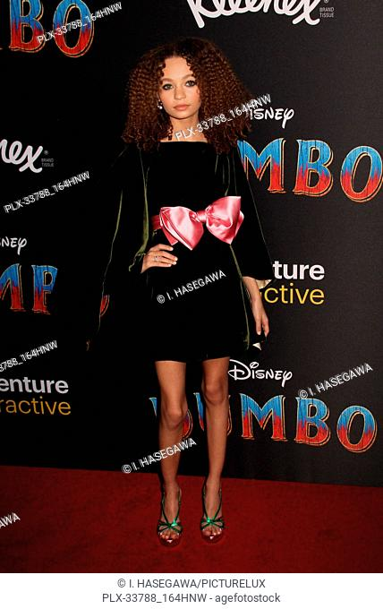 "Nico Parker 03/11/2019 The World Premiere of """"Dumbo"""" held at El Capitan Theatre and Ray Dolby Ballroom, Lowes Hollywood Hotel in Los Angeles, CA"