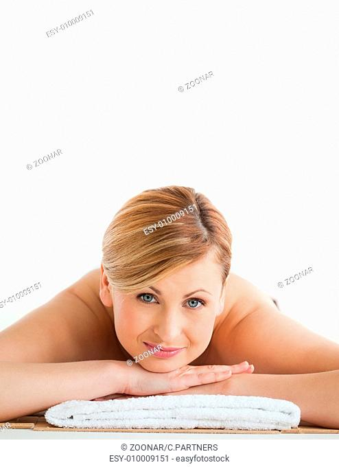 Pretty blond-haired woman relaxing