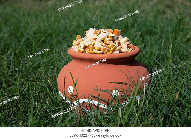 Earthen pot with variety of ingredients