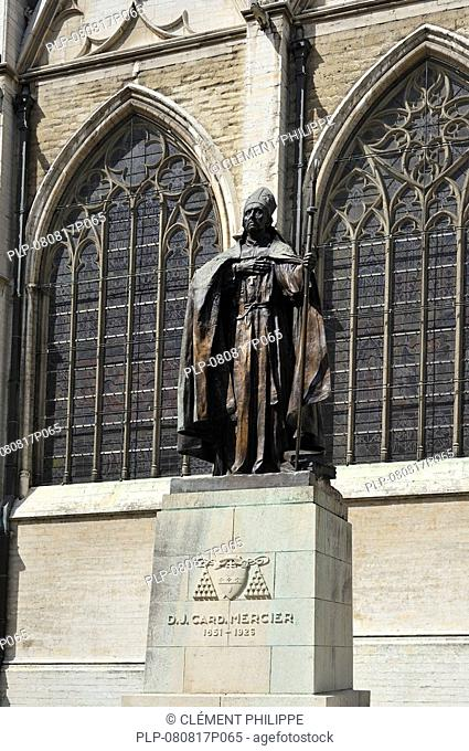 Statue of cardinal Mercier at the Saint Gudule and Saint Michael's Cathedral, Brussels, Belgium