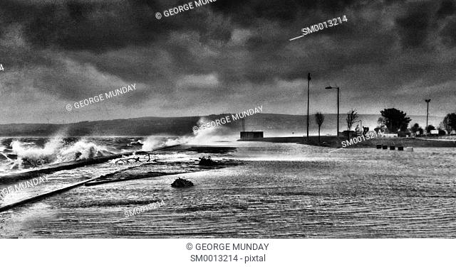 Storms in Dungarvan bay,. Dungarvan - County Town, . County Waterford, Ireland