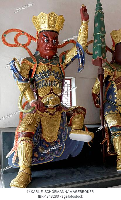 Figure of a Bodhisattva with snake, Buddhist Avalokitesvara or Kwun Yam Temple, Ten Thousand Buddhas Monastery, Sha Tin, New Territories, Hong Kong, China