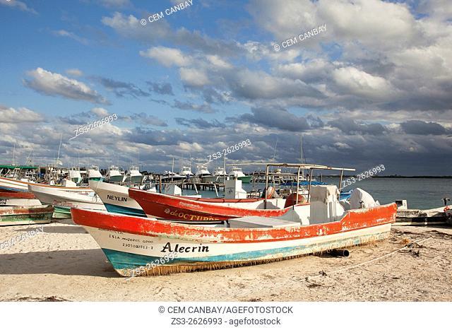 Fishing boats and cruise boats near the beach, Isla Mujeres, Cancun, Quintana Roo, Yucatan Province, Mexico, North America