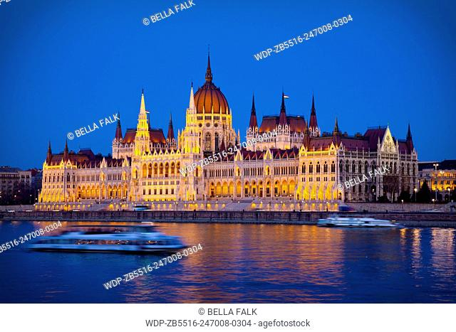 The Parliament Building seen from across the Danube River, Budapest, Hungary
