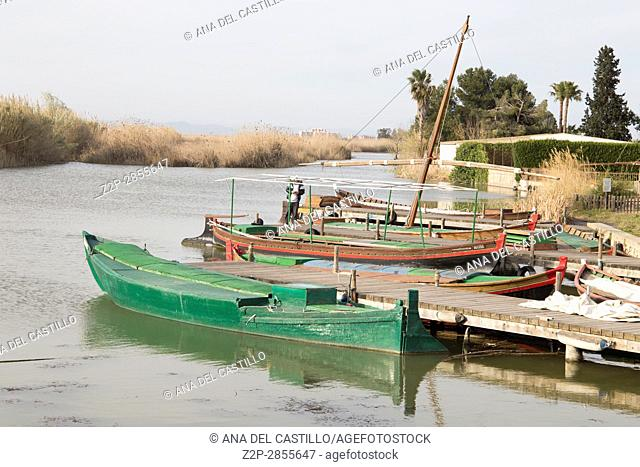 Fishing boats in La Albufera lake nature reserve, El Palmar, Valencia, Comunidad Valencia on March 8, 2017