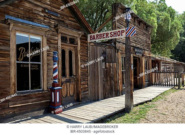 Historic buildings, Barber shop, Wild West open-air museum, Nevada City Museum, former gold mining town, Ghost Town, Montana Province, USA
