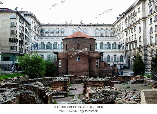 Sofia, Bulgaria. Rotonda Sveti Georgi Pobedonostets is a little Christian-Orthodox church from the third century, which is party excavated by archeologists