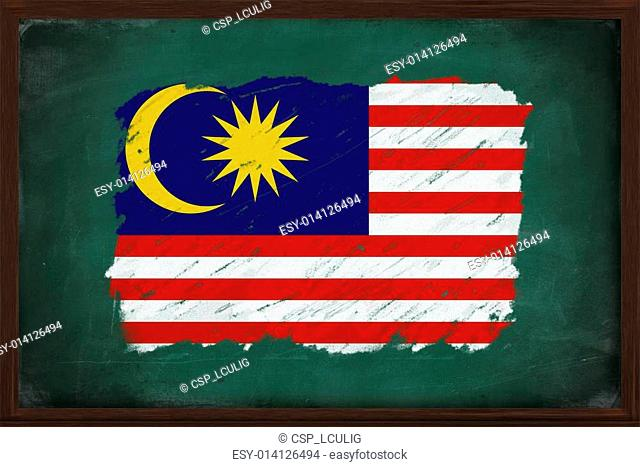 Malaysia flag painted with chalk on blackboard