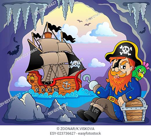 Sitting pirate theme image 5 - picture illustration