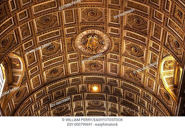 Vatican Inside Ornate Golden Curved Ceiling Detailed with Symbols