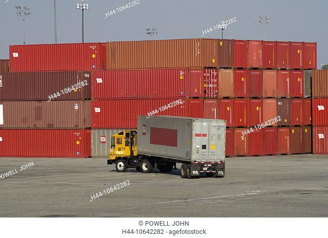 10642282, California, California, Frachhafen, harbour, port, industry, California, truck, Long Beach container terminal, trans