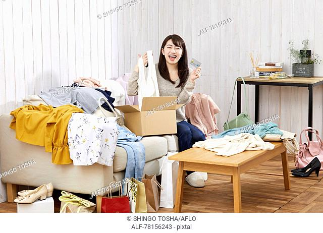 Japanese woman buying online