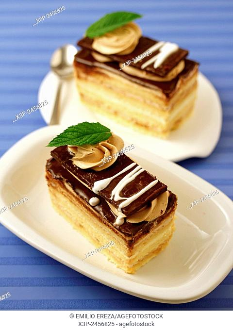 Chocolate and cream sponge cake