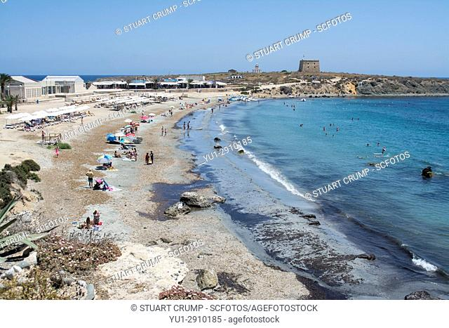Pebble beach on the island of Tabarca Spain