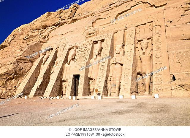 Nefertari's Temple of Hathor also known as the Small Temple at Abu Simbel in Egypt