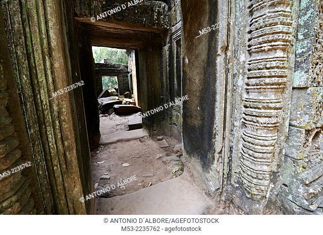 A passage and a corridor at Ta Prohm ruin, a temple at Angkor. Siem Reap. Cambodia