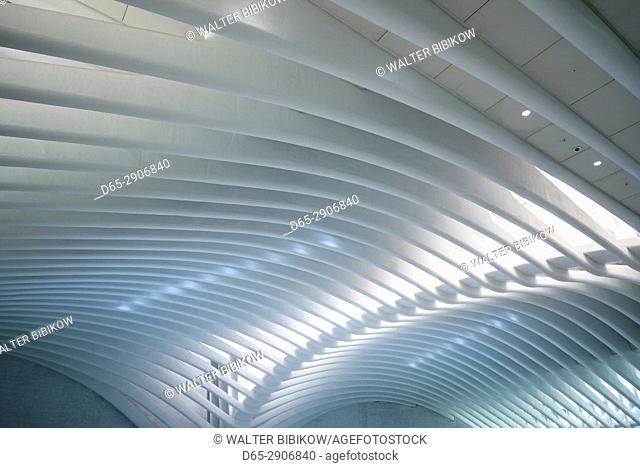 USA, New York, New York City, Lower Manhattan, The Oculus, World Trade Center PATH train station, designed by Santiago Calatrava, interior