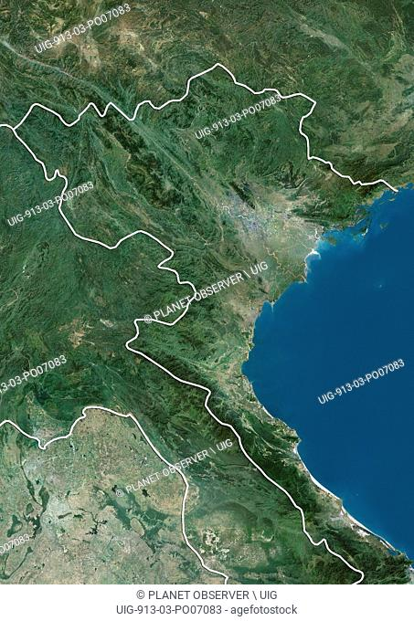 Satellite view of Northern Vietnam (with country boundaries and mask). This image was compiled from data acquired by Landsat satellites