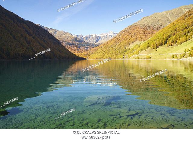 Verlago lake in autumn. Verlago, Senales valley, , Bolzano, South Tyrol, Italy, Europe