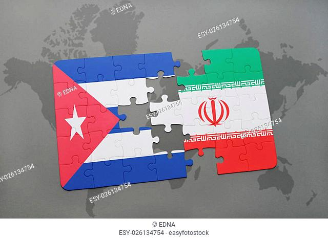 puzzle with the national flag of cuba and iran on a world map background. 3D illustration
