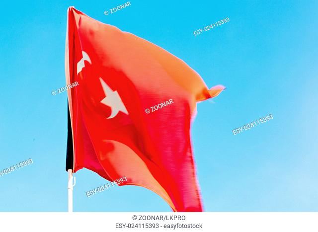 tunisia waving flag in the  colour and wave