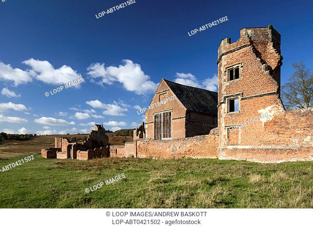 The brick ruins of Bradgate House within Bradgate Park in Leicestershire