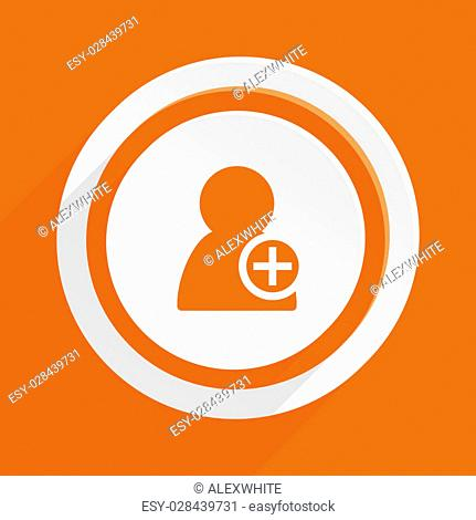add contact orange flat design modern icon for web and mobile app