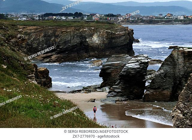 Beach of the Cathedrals in Ribadeo, Galicia, Spain. One of the stops of the Transcantabrico Gran Lujo luxury train