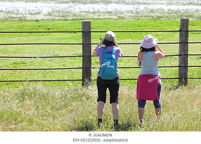 Young women observing flamingos at Donana National Park, Spain