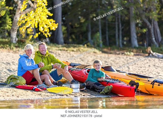 Family at water