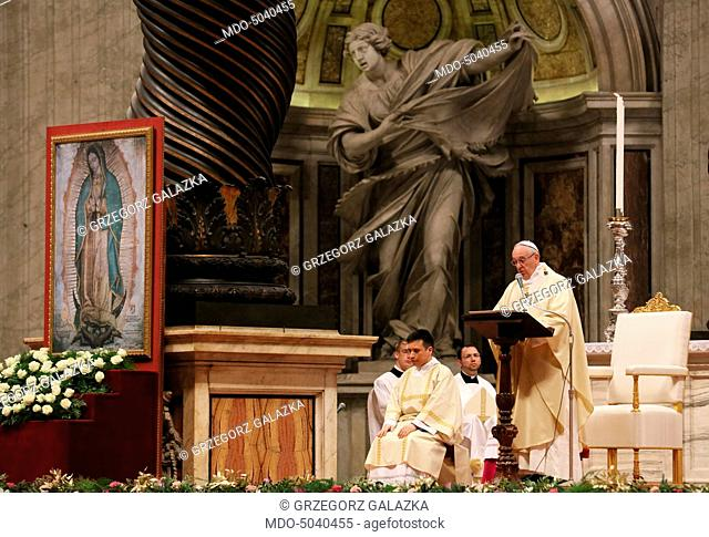 Pope Francis (Jorge Mario Bergoglio) celebrating the Holy Mass in the honour of Our Lady of Guadalupe at Saint Peter's Basilica