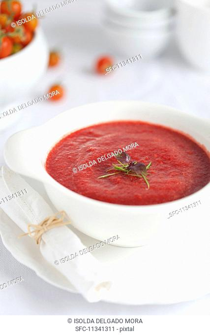 Tomato and beetroot soup with bean sprouts