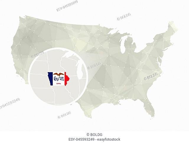 Polygonal abstract USA map with magnified Iowa state. Iowa state map and flag. US and Iowa vector map. Vector Illustration