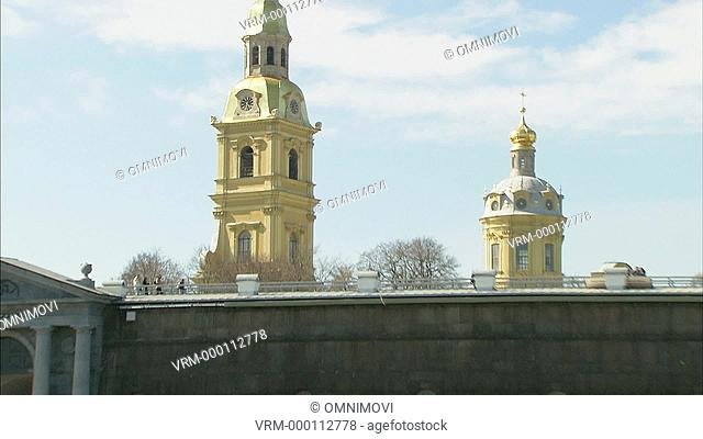 Peter and Paul Cathedral and Fortress seen from water zoom out