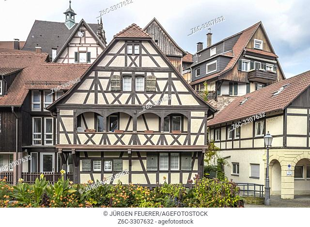 half-timbered houses of Gernsbach, Murgtal, Germany, historic old town of Northern Black Forest