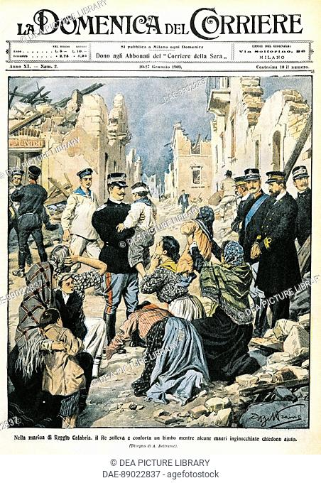 Italy, 20th century - King of Italy visit Reggio Calabria. Illustration from Sunday supplement to Italy's daily newspaper Corriere della Sera La Domenica del...