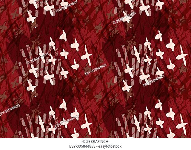 Marker hatched deep red with crosses.Abstract hand drawn with ink and marker brush seamless background.Textured pattern