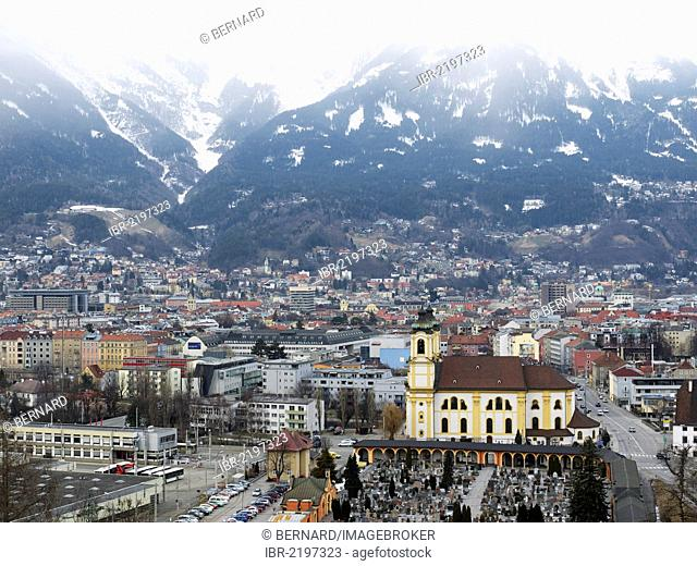 View from the Bergisel ski jump over Innsbruck, Tyrol, Austria, Europe