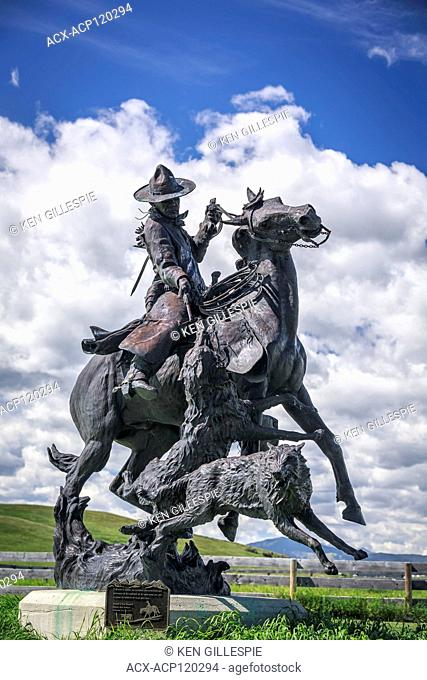Statue 'Attacked by Wolves' at Bar U Ranch National Historic Site, Alberta, Canada